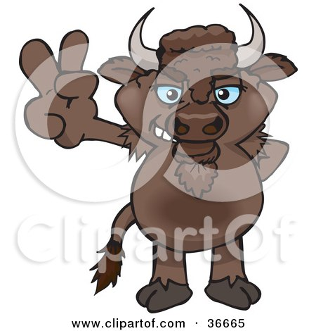 Clipart Illustration of a Peaceful Bison Smiling And Gesturing The Peace Sign With His Hand by Dennis Holmes Designs