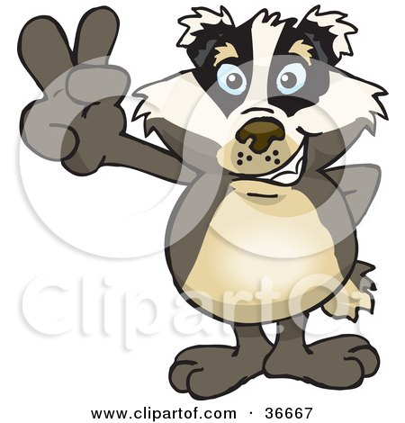Clipart Illustration of a Peaceful Badger Smiling And Gesturing The Peace Sign With His Hand by Dennis Holmes Designs
