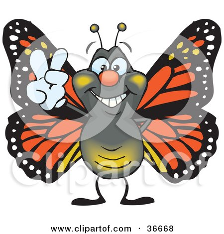 Clipart Illustration of a Peaceful Monarch Butterfly Smiling And Gesturing The Peace Sign With His Hand by Dennis Holmes Designs
