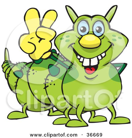Clipart Illustration of a Peaceful Caterpillar Smiling And Gesturing The Peace Sign With His Hand by Dennis Holmes Designs