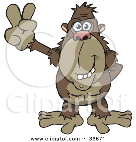 Peaceful Ape Smiling And Gesturing The Peace Sign With His Hand Posters, Art Prints