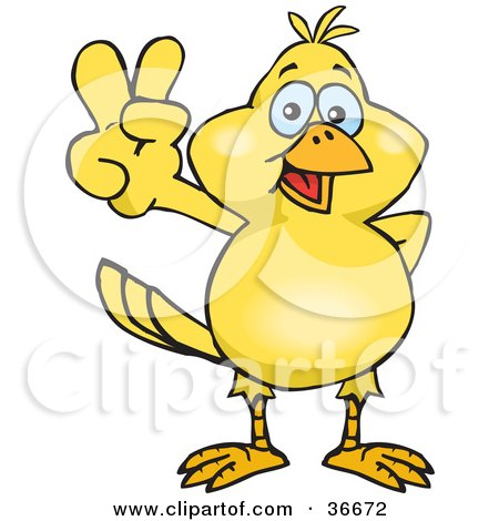 Clipart Illustration of a Peaceful Canary Smiling And Gesturing The Peace Sign With His Hand by Dennis Holmes Designs