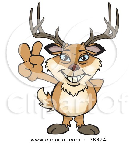 Clipart Illustration of a Peaceful Buck Smiling And Gesturing The Peace Sign With His Hand by Dennis Holmes Designs