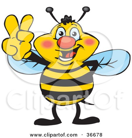 Clipart Illustration of a Peaceful Honey Bee Smiling And Gesturing The Peace Sign With His Hand by Dennis Holmes Designs