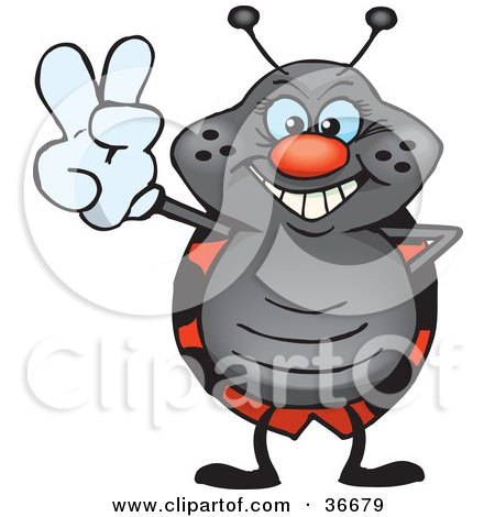 Clipart Illustration of a Peaceful Beetle Smiling And Gesturing The Peace Sign With His Hand by Dennis Holmes Designs