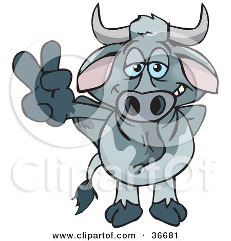 Clipart Illustration of a Peaceful Gray Bull Smiling And Gesturing The Peace Sign With His Hand by Dennis Holmes Designs