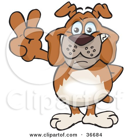 Clipart Illustration of a Peaceful Bulldog Smiling And Gesturing The Peace Sign With His Hand by Dennis Holmes Designs