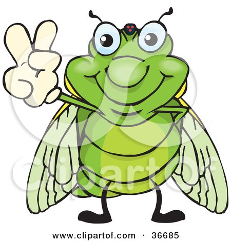 Clipart Illustration of a Peaceful Cicada Smiling And Gesturing The Peace Sign With His Hand by Dennis Holmes Designs