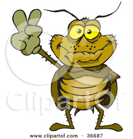 Clipart Illustration of a Peaceful Cockroach Smiling And Gesturing The Peace Sign With His Hand by Dennis Holmes Designs