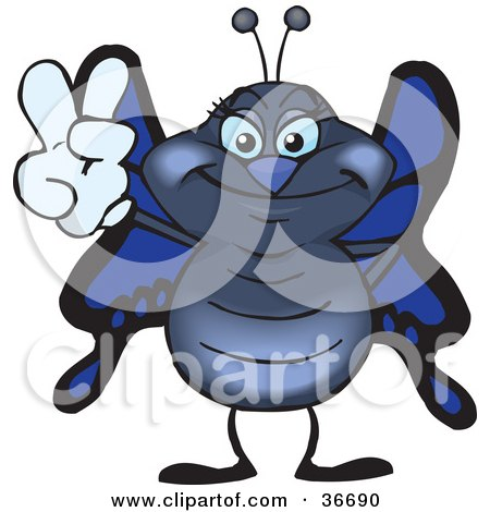 Clipart Illustration of a Peaceful Butterfly Smiling And Gesturing The Peace Sign With His Hand by Dennis Holmes Designs