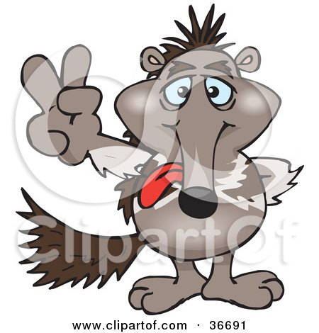 Clipart Illustration of a Peaceful Anteater Smiling And Gesturing The Peace Sign With His Hand by Dennis Holmes Designs