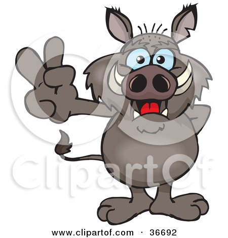 Clipart Illustration of a Peaceful Boar Smiling And Gesturing The Peace Sign With His Hand by Dennis Holmes Designs