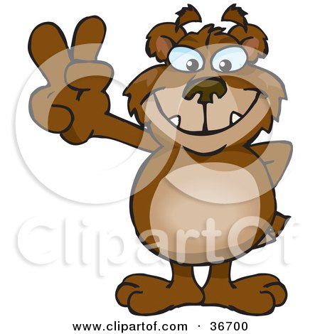 Clipart Illustration of a Peaceful Bear Smiling And Gesturing The Peace Sign With His Hand by Dennis Holmes Designs