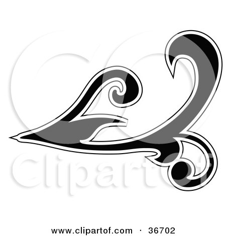 Silhouetted Black Leafy Scroll Design Outlined In White Posters, Art Prints