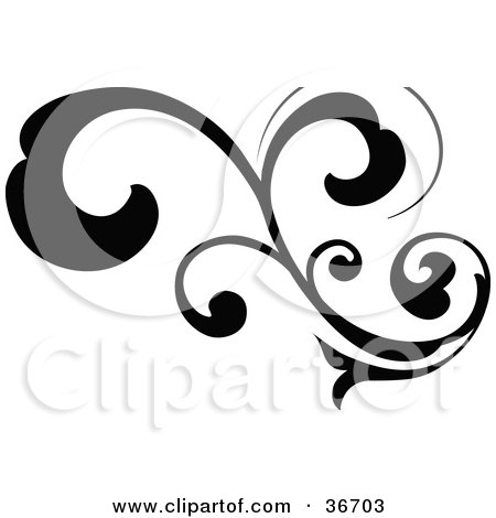 Black Silhouetted Elegant Curly Leafy Scroll Design Posters, Art Prints
