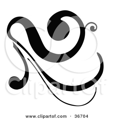 Black Silhouetted Elegant Flourish Design Posters, Art Prints
