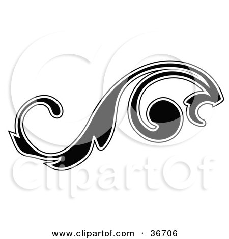 Leafy Black Silhouetted Scroll Design Outlined In White Posters, Art Prints