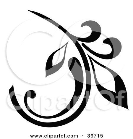 Black Branch Design Element With A Curly Leaf Posters, Art Prints