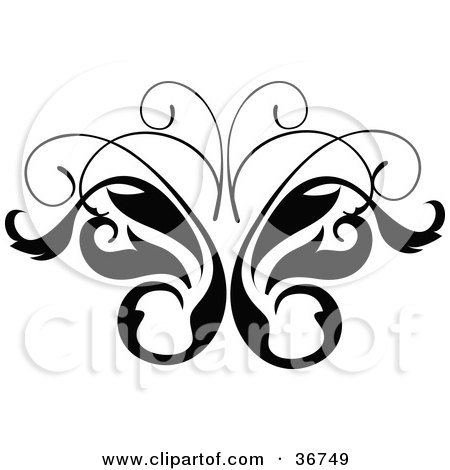 Royalty-free clipart picture of a black and white leavy butterfly vine