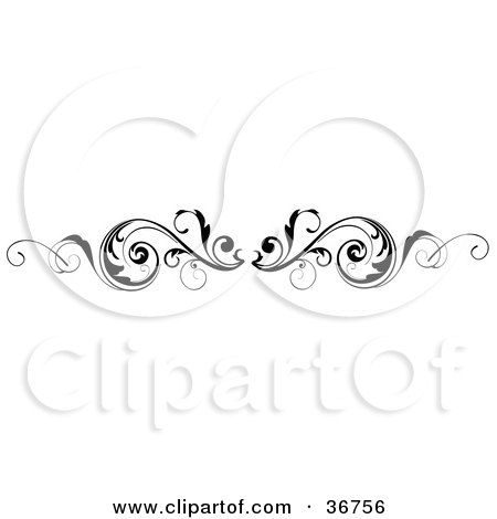 Leafy Black And White Scroll Lower Back Tattoo Design Or