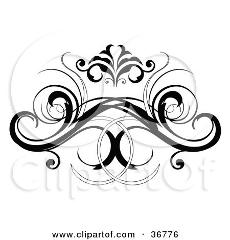 Clipart Illustration of a Black Decorative Design Element Or Back Tattoo by OnFocusMedia