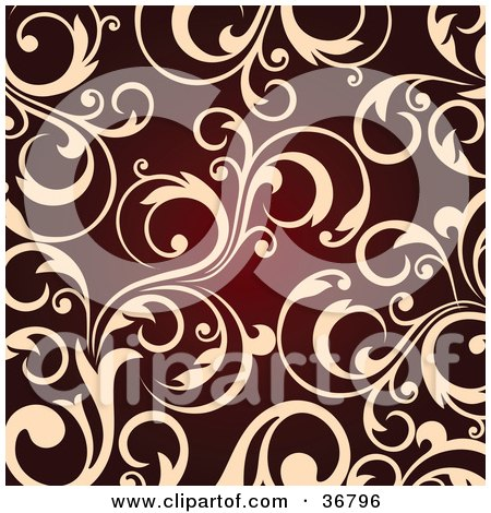 Clipart Illustration of a Background Of Beige Leafy Scroll Designs Over Red by OnFocusMedia