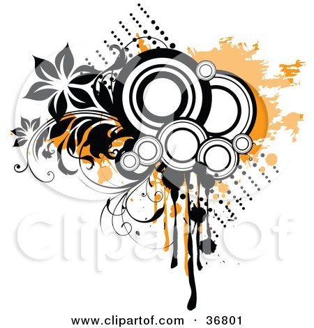 Clipart Illustration of a Black And White Circles, Orange Grunge, Splatters And Flowering Vines by OnFocusMedia