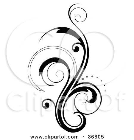 Clipart Illustration of a Silhouetted Vertical Scroll ...
