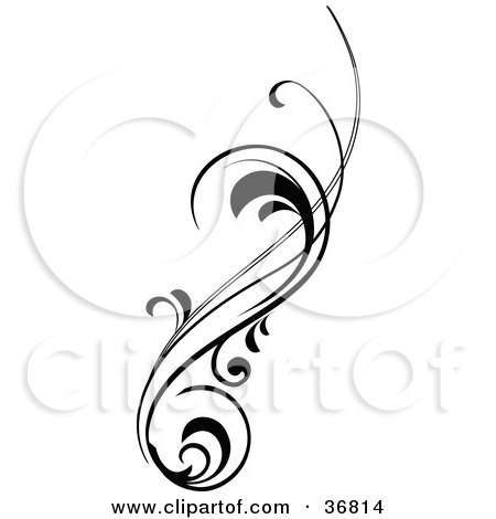 Clipart Illustration of a Vertical Black Silhouetted ...