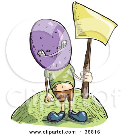 Clipart Illustration of a Little Boy Wearing A Purple Monster Mask And Holding Up A Blank Yellow Sign by PlatyPlus Art