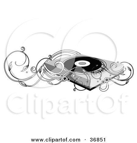 Clipart Illustration of a Vintage Record Player And Vines by OnFocusMedia