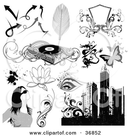Clipart Illustration of Arrows, Feathers, Shields, Record Player, Dragon, Butterflies, Eyes, Lotus Flowers, Splatters, Woman, Vines And Skyscrapers by OnFocusMedia