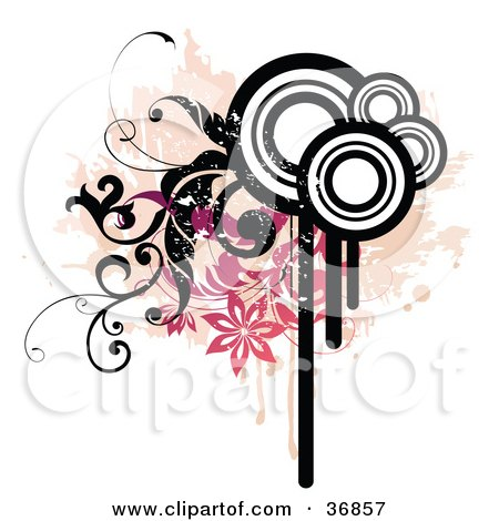 Clipart Illustration of a Grunge Design Eleent Of Drips, Circles, Splatters, Vines And Flowers by OnFocusMedia