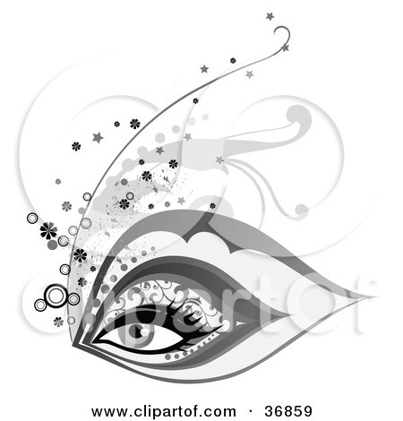 Clipart Illustration of a Beautiful Woman's Eye With Elegant Makeup by OnFocusMedia