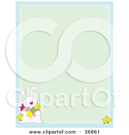 Clipart Illustration of a Cute White Easter Bunny With Chicks And Eggs, On A Green And Blue Stationery Background by Maria Bell
