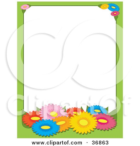 Clipart Illustration of a Green Border With Colorful Spring Daisy Flowers, Bordering A White Background by Maria Bell