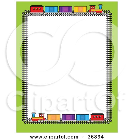 Clipart Illustration of a Green Border With Colorful Train Box Cars On A Track, Bordering A White Background by Maria Bell