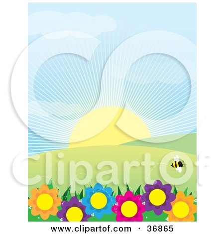 Clipart Illustration of a Single Bee Flying Above Colorful Flowers, With Hills And Sunshine On A Spring Day by Maria Bell