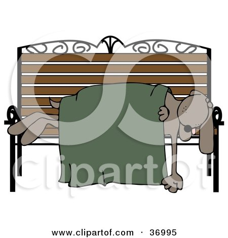 Clipart Illustration of a Homeless Dog Sleeping With A Blanket On A Bench by djart