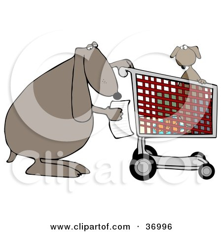 Clipart Illustration of a Dog Reading A Shopping List With Its Pup In A Cart by djart