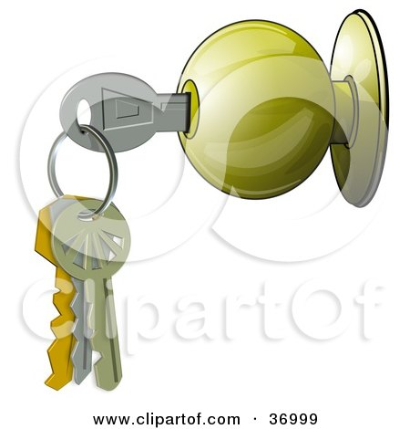 free clipart door. Royalty-free clipart picture of a key on a keyring, inside a door knob,