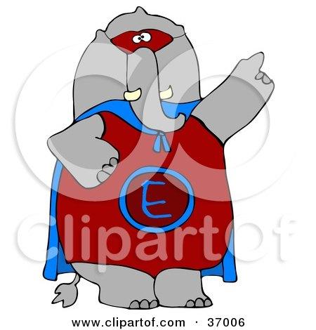Clipart Illustration of a Cool Super Hero Elephant by djart