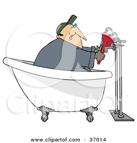 Clipart Illustration Of A Male Plumber In A Claw Foot Tub Installing Pipes By Djart 37014