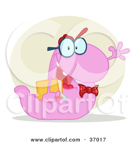 Clipart Illustration of a Friendly Purple School Worm Student Waving And Carrying A Book, With A Tan Circle And Shadow by Hit Toon