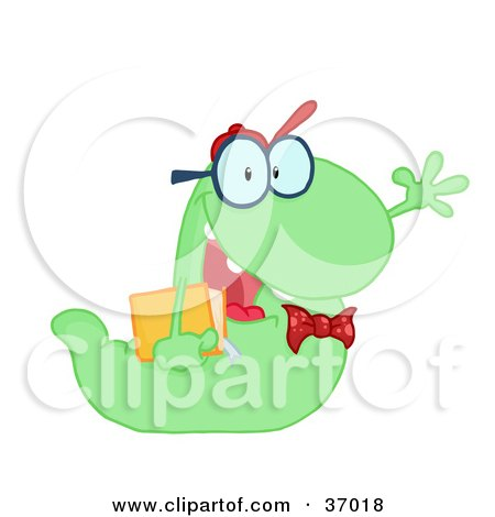 Clipart Illustration of a Waving Green Worm Student Carrying A Book by Hit Toon