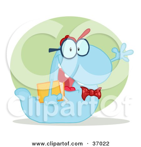 Clipart Illustration of a Friendly Blue School Worm Student Waving And Carrying A Book, With A Green Circle And Shadow by Hit Toon