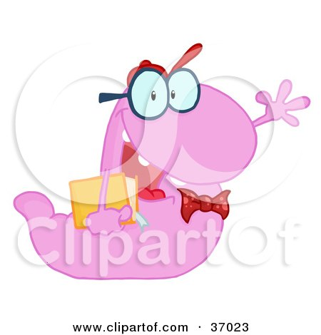 Clipart Illustration of a Waving Purple Worm Student Carrying A Book by Hit Toon