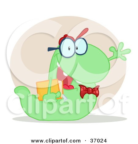 Clipart Illustration of a Friendly Green School Worm Student Waving And Carrying A Book, With A Beige Circle And Shadow by Hit Toon