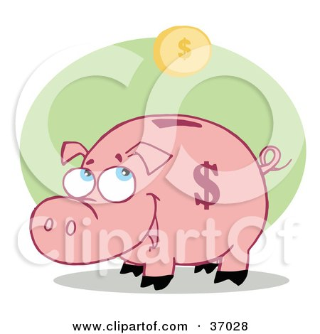 Clipart Illustration of a Pink Piggy Bank Watching A Golden Coin Fall Into The Slot by Hit Toon