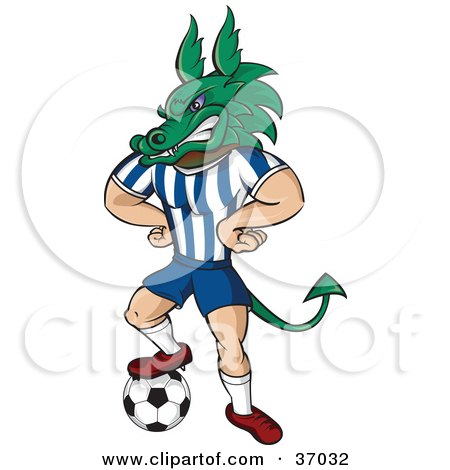 Clipart Illustration of a Dragon Mascot In Uniform, Standing With His Hands On His Hips And One Foot On A Soccer Ball by Paulo Resende